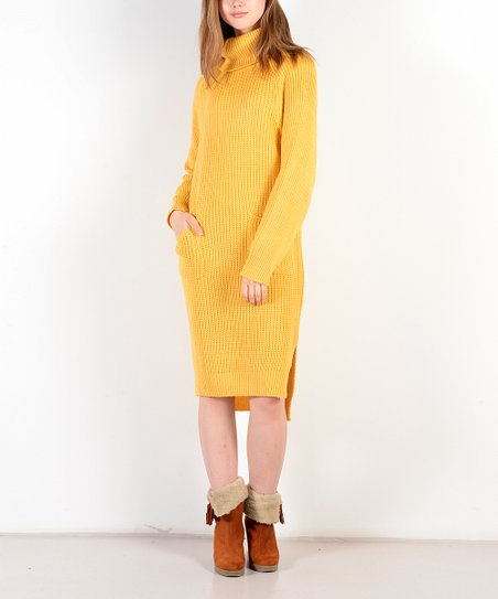 00b66bc35ad love this product Mustard Turtleneck Wool-Blend Sweater Dress