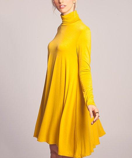2ad135ed340 love this product Mustard Turtleneck Swing Dress - Women
