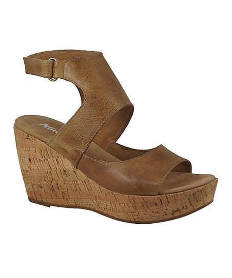 afd8d9d83ad love this product Taupe Leather Cutout Wedge Sandal - Women
