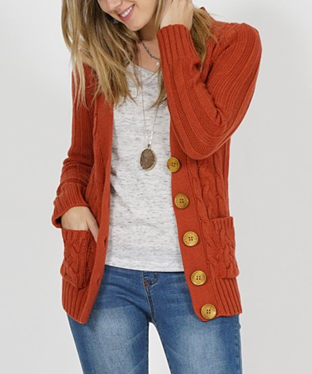 love this product Dusty Orange Cable-Knit Large-Button Cardigan - Women 7dd4df282