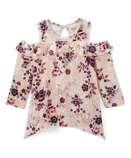 6a870a180ca747 Speechless Blush Floral Velvet Ruffle Cold-Shoulder Top - Girls