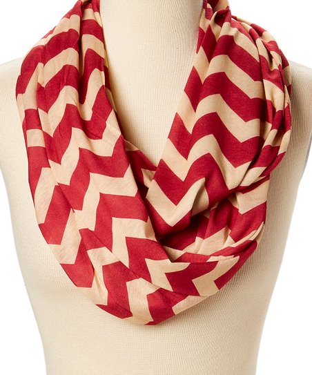 d30631614ab Tickled Pink Crimson & Gold Chevron Jersey Infinity Scarf