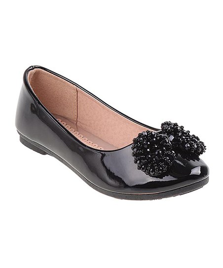 Laura Ashley® Black Patent Beaded-Bow Ballet Flat - Girls  a4a38d519