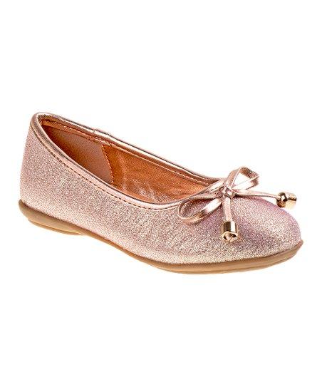 Kensie Girl Champagne Shine Bow Ballet Flat - Girls