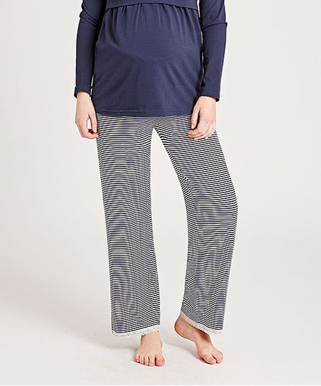 8d0217e9523c5 love this product Navy & Ecru Stripe Over-Belly Maternity Pajama Bottoms