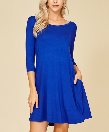 05fdfc01f54317 Annabelle USA Royal Blue Scoop Neck Swing Dress - Plus Too   Zulily