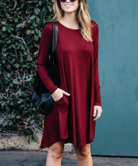 b5814dcf8d4d Amaryllis Burgundy Long-Sleeve Shift Dress - Women
