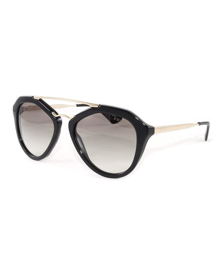 a98625c3e65 Prada Black   Gold Gradient Oversize Sunglasses - Women