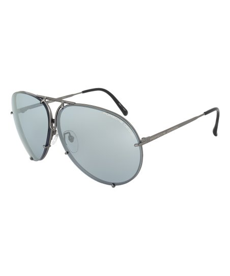 7670cc1fccf0 ... Porsche Gunmetal   Mirror Blue Modified Aviator Sunglasses Zulily