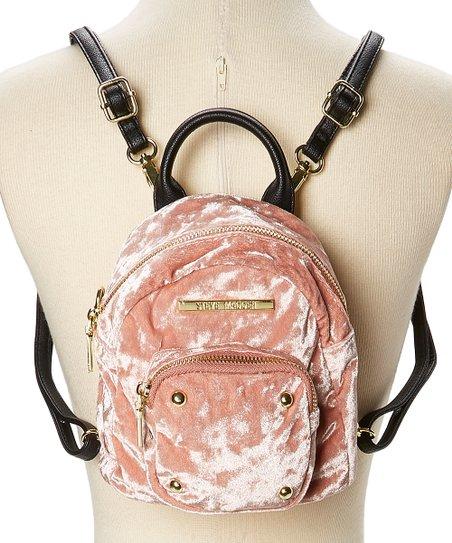 f2416477b33 Steve Madden Blush   Black Crushed Velvet Mini Backpack
