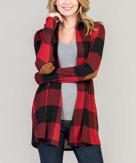 love this product Red   Black Buffalo Check Open Cardigan - Women f8d7ef282f13