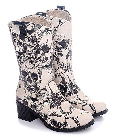 Calory Black \u0026 Beige Skull Cowboy Boot