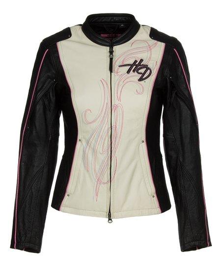 Harley Davidson Black White Color Block Leather Jacket Women