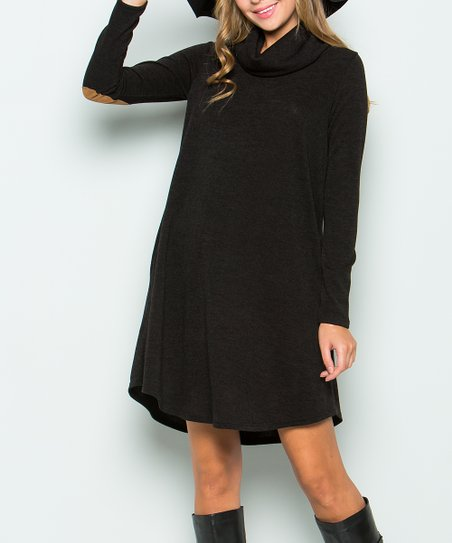 Dress WomenZulily Sweet Blackamp; Brown Sweater Lovely Patch Elbow UMSzpV