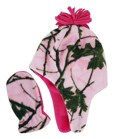 love this product Pink Camo Microfleece Earflap Beanie   Mittens Set -  Toddler e7adde0f6f60