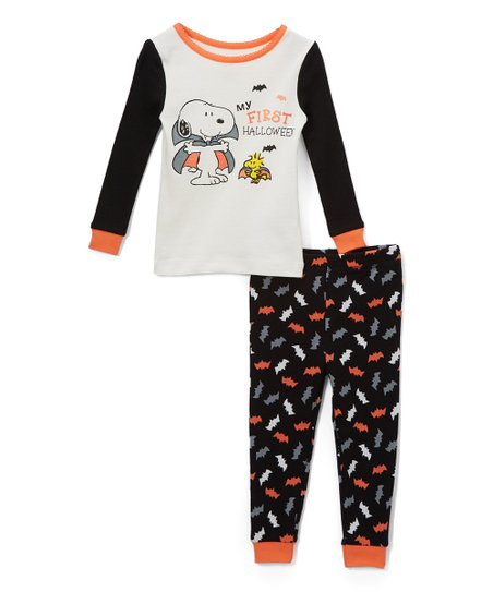 905a9dcd4 love this product White & Black Peanuts 'My First Halloween' Pajama Set -  Newborn & Infant