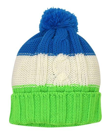 Grand Sierra Lime   Royal Blue Stripe Cable-Knit Beanie  49881b10d376