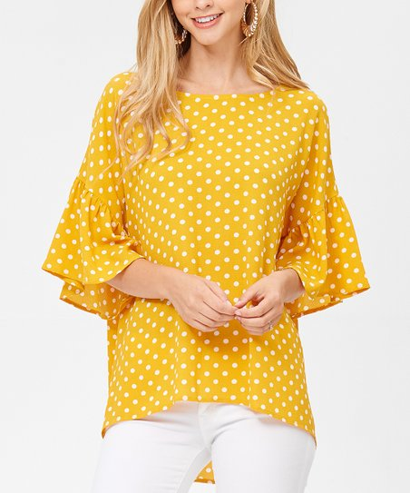 58f6512c67b8d love this product Mustard Polka-Dot Ruffle-Sleeve Hi-Low Top