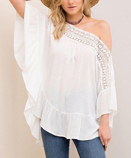 3f0b7a05287 love this product White Ruffle-Hem Asymmetrical Top - Women