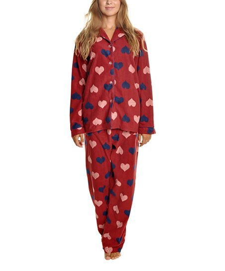 9d02cca601b9 Angelina Burgundy Hearts Fleece Pajama Set - Women