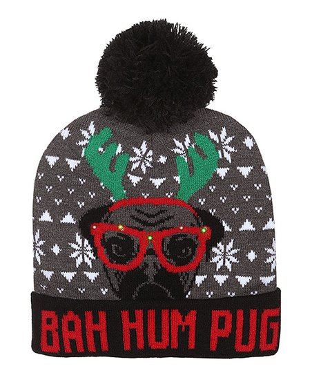 ddfba6b3566 love this product Gray   Red  Bah Hum Pug  LED Beanie