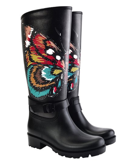 Blue Butterfly Rain Boot