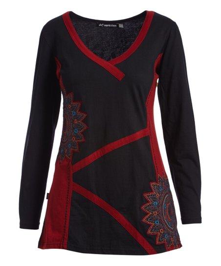 b415079a8273ec Leopards & Roses Black & Red Floral Scoop Neck Tunic - Women & Plus ...