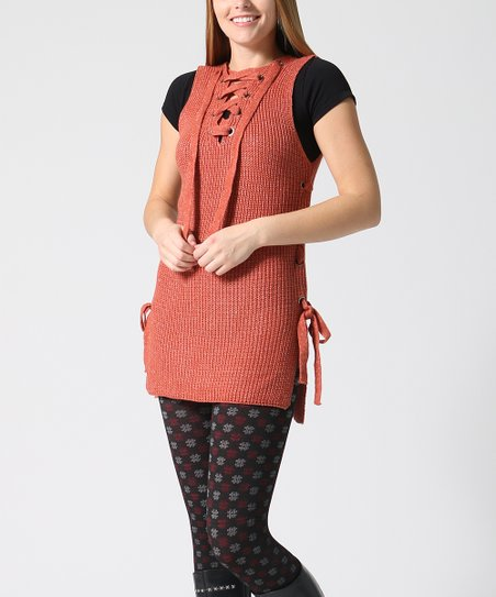 6d4474cbac love this product Rust Lace-Up Sweater Vest - Women