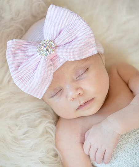 605144543 love this product Pink Stripe & Iridescent Rhinestone Oversize Bow Hospital  Hat - Newborn