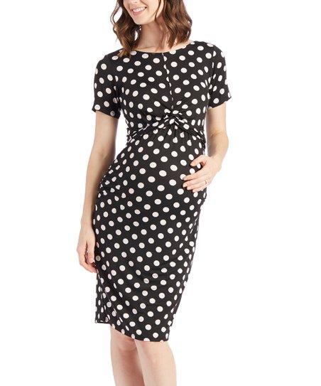 e428b5663eb love this product Black   White Polka Dot Twist-Front Maternity Sheath Dress