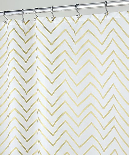 Gold Sketched Chevron Shower Curtain