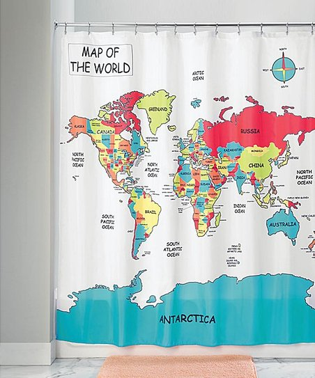 Love This Product World Map Shower Curtain