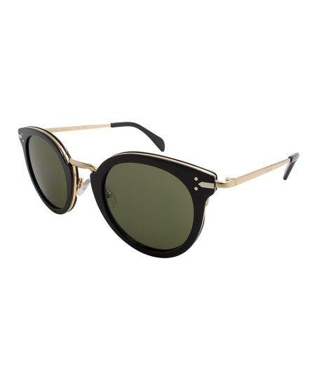 f08b85fb5de Celine Black Gold   Green Round Sunglasses