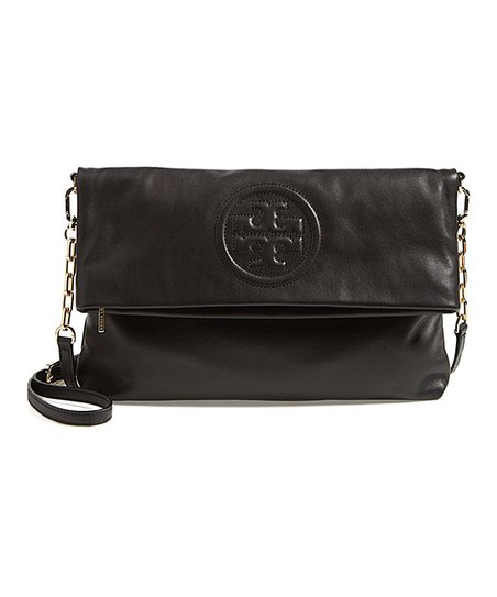 38bad06409a3 Tory Burch Black Bombe Fold-Over Leather Crossbody Bag