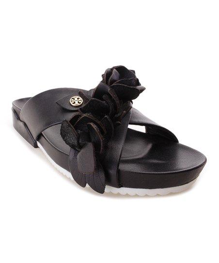5ae2eeac8e083 Tory Burch Black Blossom Leather Slide - Women