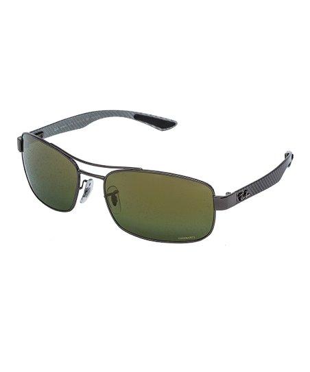 91daacbaf22 Ray-Ban Gunmetal   Green Polarized Chromance Square Sunglasses ...