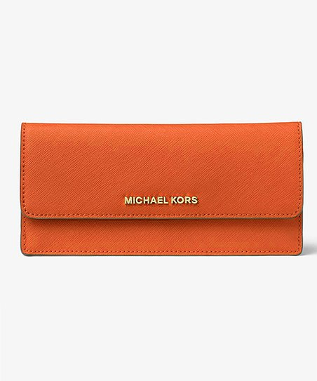 c4e9db37bd3d love this product Tangerine Jet Set Saffiano Leather Wallet