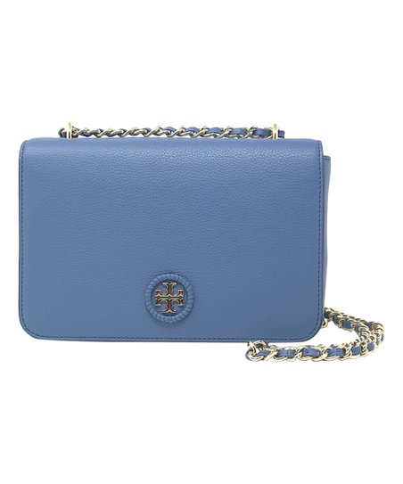 3d2ddab16efa Tory Burch Wallis Blue Whipstitch Leather Crossbody Bag | Zulily