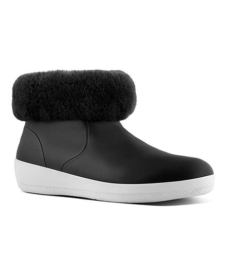 0d83cdb81 FitFlop Black Skatebootie Leather   Shearling Ankle Boot - Women ...