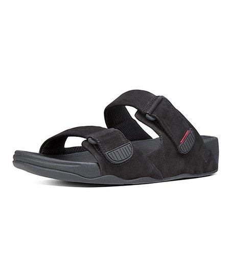 d98f7e4abed9 FitFlop Black Gogh Moc Slide Adjustable Nubuck Sandal - Men