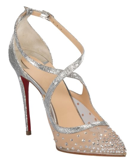 los angeles f2ebd 0a112 Christian Louboutin Silver Twistissima Strass Leather Ankle-Strap Pump -  Women