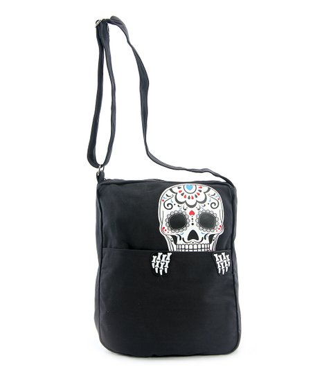 Sleepyville Critters Black White Sugar Skull Crossbody Bag