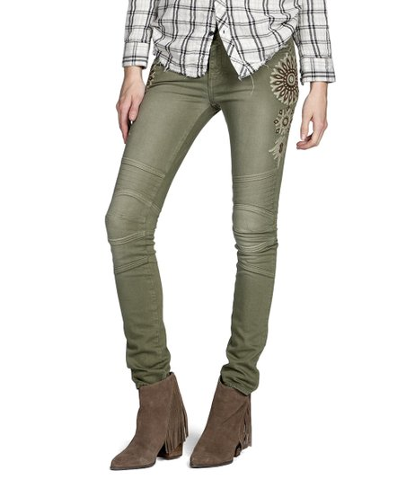 fdabc6eb74d0f MM Vintage Olive Green Flower-Accent Kate Moto Jeans - Women | Zulily