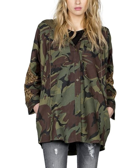 c9a68d7d MM Vintage Green & Brown Camouflage Hooded Button-Up - Women | Zulily