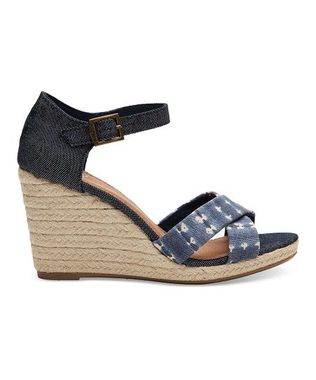 93603238121 love this product Navy Batik Stripe   Denim Sienna Wedge - Women