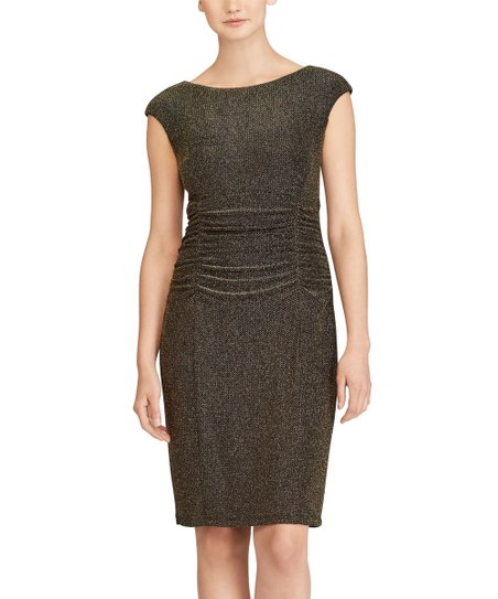 34f61ac02eeb Lauren Ralph Lauren Black & Gold Metallic Cutout-Back Dress | Zulily