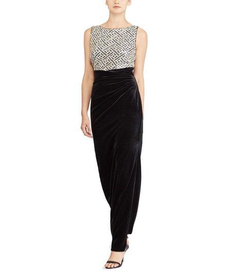 dd9056e52 Lauren Ralph Lauren Black Shine   Ivory Matte Sequin Boatneck Gown ...
