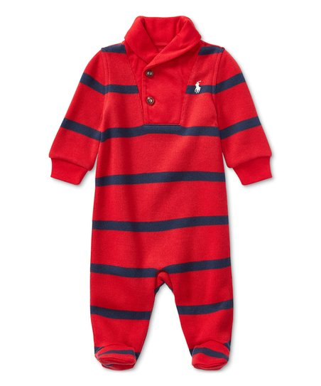 e3e11485ad9c love this product Red Stripe Shawl Collar Footie - Newborn   Infant