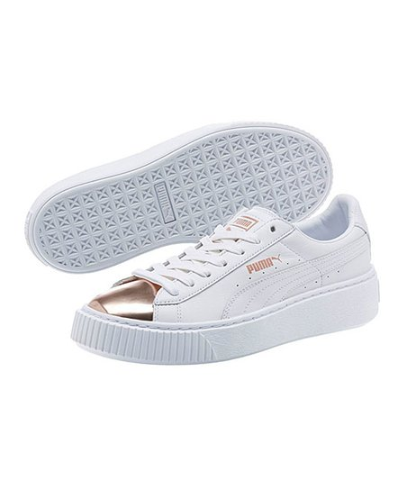 PUMA White   Rose Gold Basket Platform Metallic Sneaker  54bebfa54fb