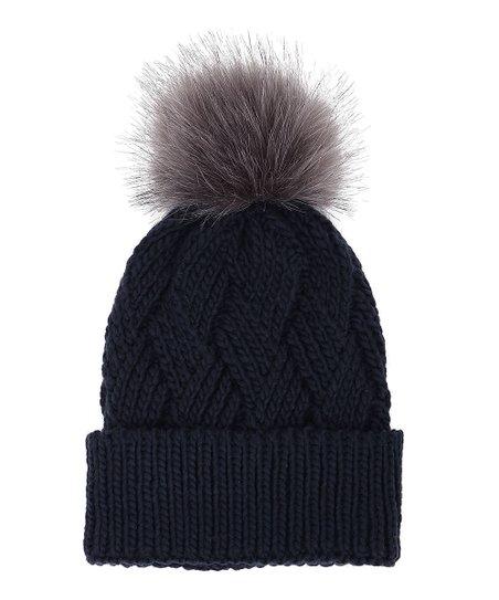 3458d498c11 love this product Navy Diamond-Knit Faux Fur Pom-Pom Beanie - Women